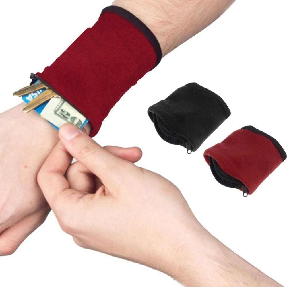 1 PC Pergelangan Tangan Dompet Pouch Band Bulu Zipper Gym Bersepeda Olahraga Dompet Hiking Perjalanan Accessiories untuk Lari Camping Ransel