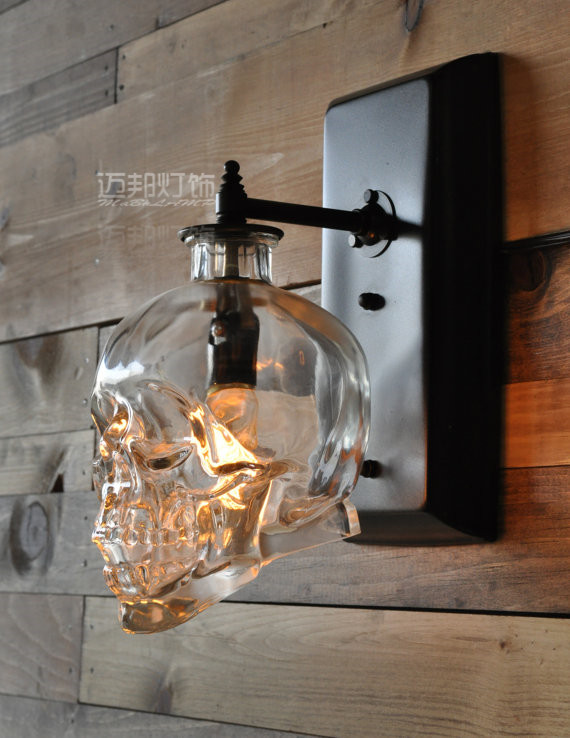 loft nordic industrial designer retro skull glass bottle wall lamp corridor Bougeoir Mural Skull Wall Sconce lamp