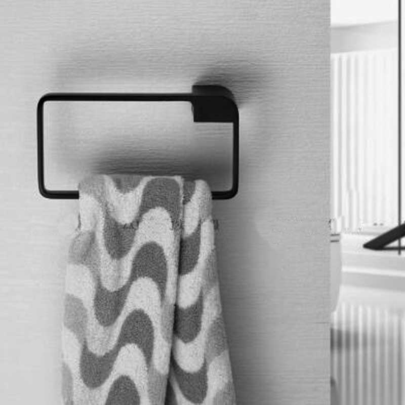 Modern Square Matte Black Brass Hand Towel Holder Bathroom
