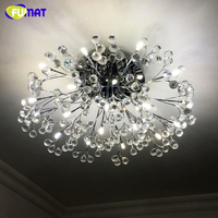 FUMAT European Round Crystal Chandeliers Lustre Creative Fashion LED Remote Control Light For Living Room LED Crystal Lights