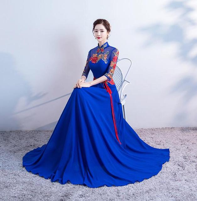 19cd673f85 2018 Luxury Royal Blue Tailing Evening Dress Bride Wedding Cheongsam  Chinese Oriental Dresses Free Shipping