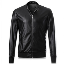 Autumn and Winter Style Simple Washed Collar Men's Motorcycle Leather Jackets and Coat Import China PU Pilot Leather Jacket C024