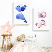 Bianche Wall Watercolor Balloons and Whale Animals A4 Canvas Painting Art Print Poster Picture Paintings Home Decoration