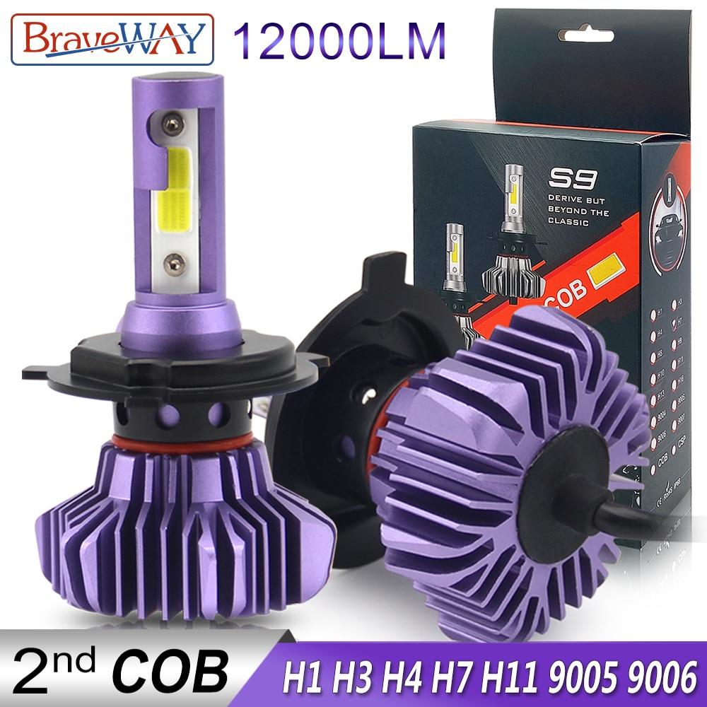 Braveway conduziu o farol para o carro do bulbo do gelo do diodo h4 h7 h11 9005 9006 hb3 bh4 h1 lâmpadas do diodo do automóvel h7 conduziu o bulbo h4