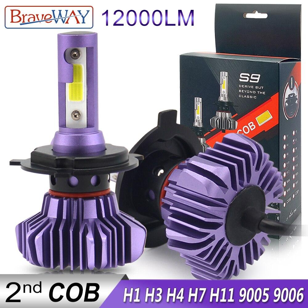 BraveWay phare LED pour Auto LED Glace Ampoule Voiture lumière LED H4 H7 H11 9005 9006 HB3 BH4 H1 Automobile Lampes à Diodes H7 LED Ampoule H4