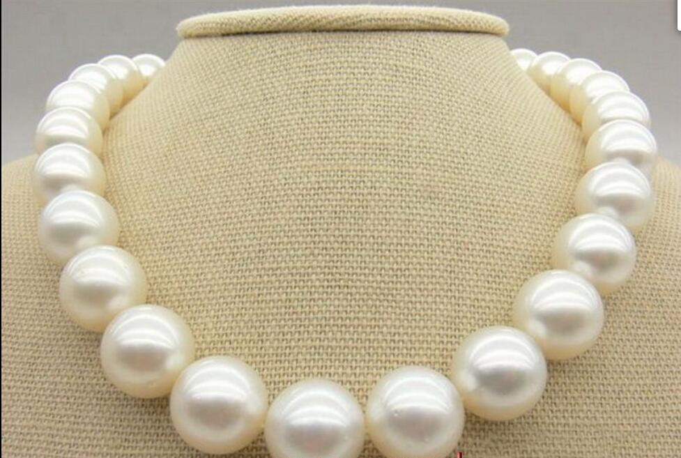 Beautiful big AAA++ 1713-14mm round REAL natural South sea WHITE pearl necklace Yellow claspBeautiful big AAA++ 1713-14mm round REAL natural South sea WHITE pearl necklace Yellow clasp