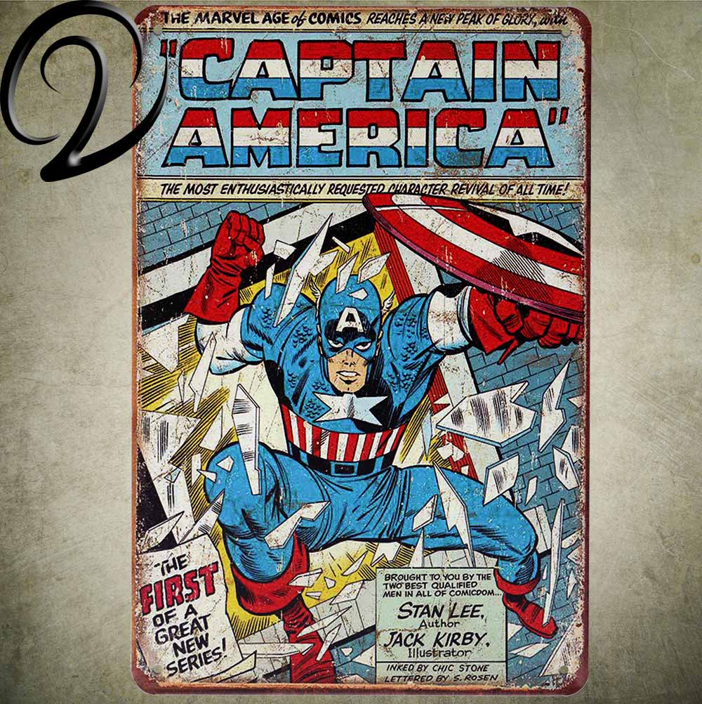 Captain America Vintage Metal Plaque 20*30 Home Bar Pub Cafe Restaurant Decoration Shabby Chic Tin Signs Metal Poster