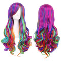 Fashion Women Rainbow Long Curly Wavy Hair Full Cosplay Lolita Party Wig