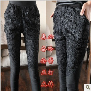 free shipping Women's trousers personalized all-match high waist lace patchwork legging plus size