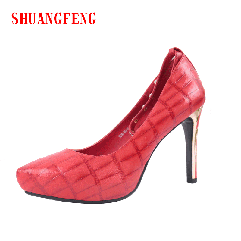 SHUANGFENG Women Pumps 2018 Classic Red Sexy 10 cm High Heels Genuine Leather Shoes Woman Footwear Ladies Party Shoes zapatos shuangfeng red 39 page 3