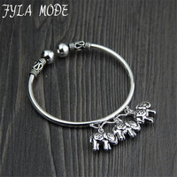 Fyla Mode 999 Sterling Silver Orinigal Design 3 Elephant Charms Handmade Thai Silver For Ladies Open Bangle Jewelry 3.15MM 14.50