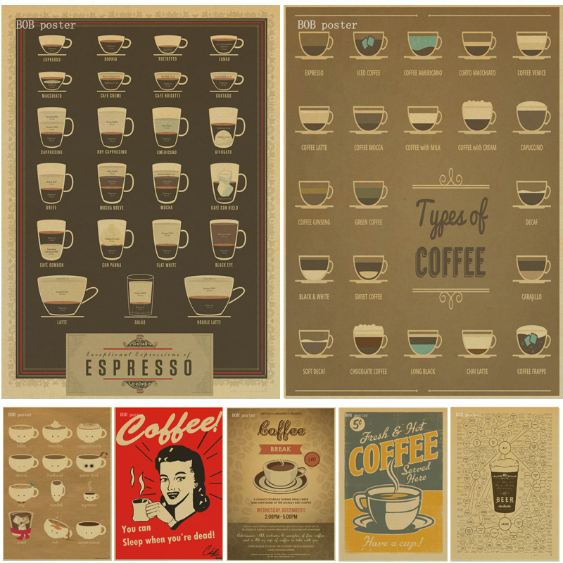 Coffee Beer Wine Collection Bars Kitchen Drawings Posters Adornment Vintage Poster Wall Stickers