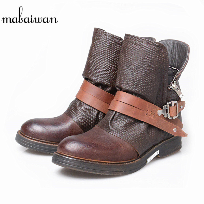 Mabaiwan Genuine Leather Women Shoes Snow Ankle Boots Black Martin Shoes Woman Booties Autumn Military Cowboy Boots Mujer Flats women martin boots 2017 autumn winter punk style shoes female genuine leather rivet retro black buckle motorcycle ankle booties