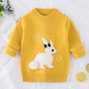 Image 3 - 2019 inverno outono da criança menina camisola de manga longa quente bebê meninas camisola crianças roupas meninas pulôver topo 2 4 anos coelho
