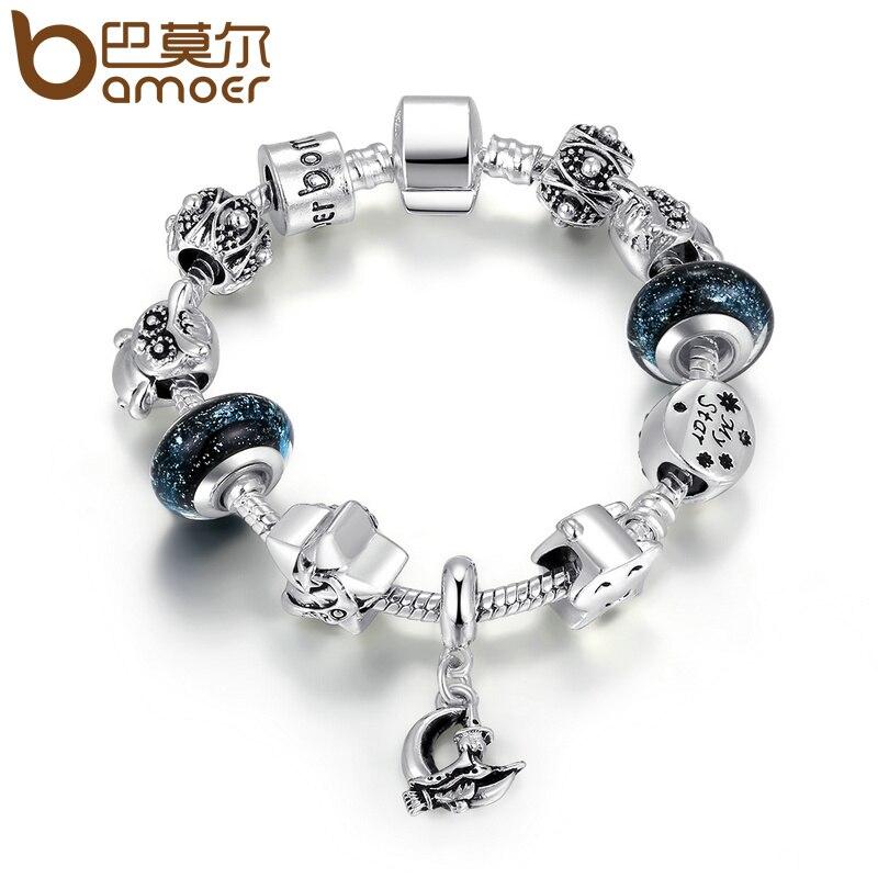 BAMOER Heißer Verkauf Silber Farbe Hohe Qualität Schwarz Murano Perlen Sterne Mond Magnetverschluss Charm Armband Modeschmuck Geschenk PA1912