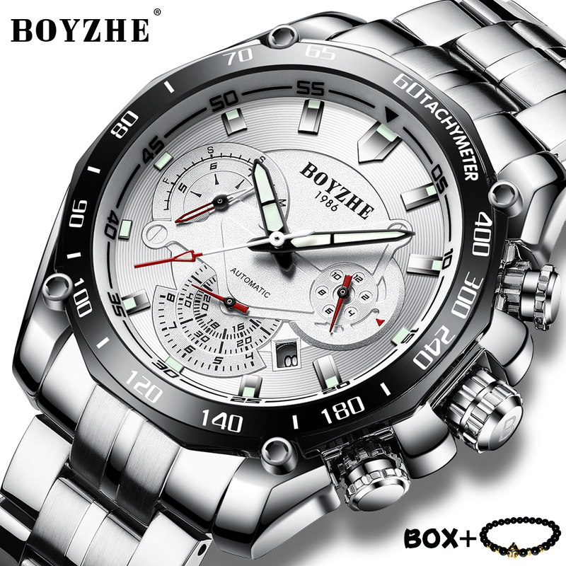 BOYZHE Mens Mechanical Watches Multifunction Calendar Stainless steel Luminous Sports Men Watch Waterproof Wristwatches for men цена и фото