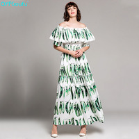 QYFCIOUFU High Quality Bohemian Women Strapless Maxi Dress Designer Runway Loose Pea Pods Printed Fashion Elegant Long Dress