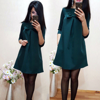 Cute Bow-knot Loose Straight Summer Dress 2017 Women Fashion Beach Style Dress Solid Color Half Sleeve Dresses Plus Size