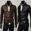 Men's PU Leather Short Jackets Coat High Quality Motorcycle Jackets Business Casual  Coat Mandarin Collar Black&dark Brown