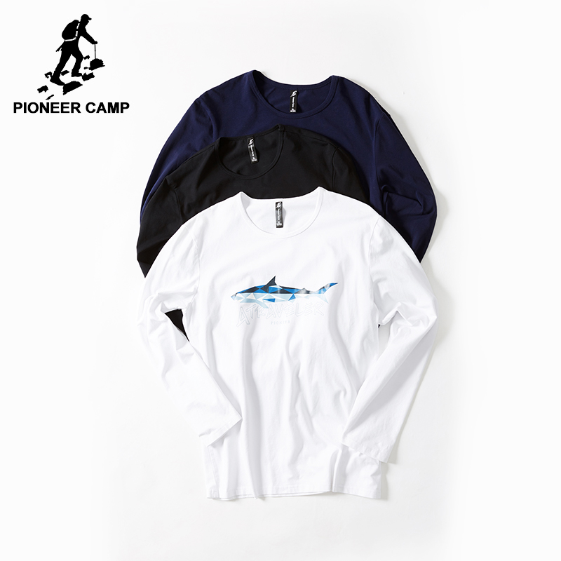 Pioneer Camp New arrival T-shirt men brand-clothing casual fish pattern T shirt male quality long sleeve autumn Tshirt ACT701249