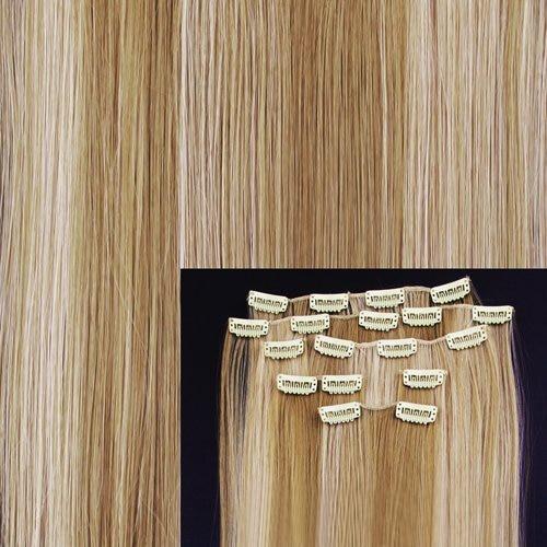 8 18 #27/613 блондинка подчеркивается прямые Полный Head Синтетические пряди для наращивания волос