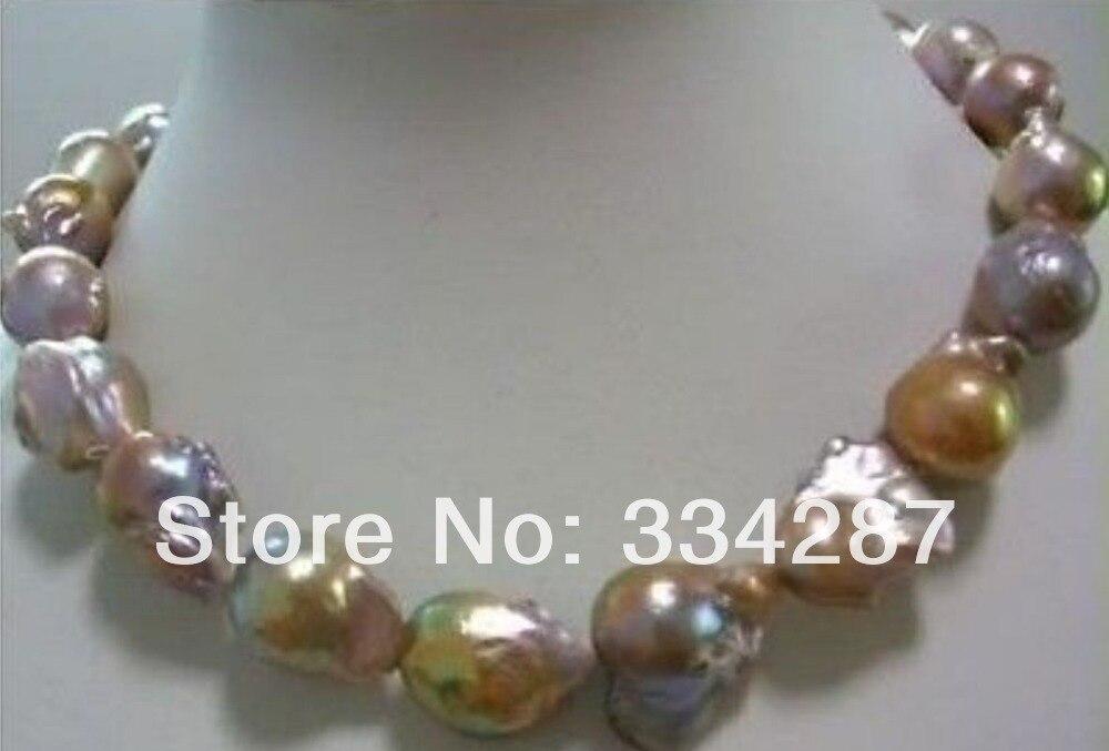 Énorme couleur AAA 15-25mm mer du sud baroque collier de perles 18 pouces gratuit, boîte à bijoux