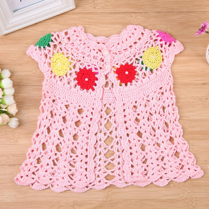 Newborn Pink Baby Girls European Hollowed-Out Knitted Handmade Pearl Waistcoat fashion Casual Pearl Top Lovely Outwear