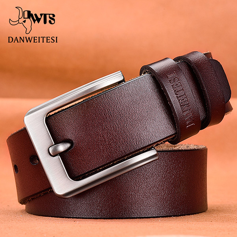 [DWTS] Mens belt Cow Genuine Leather Luxury Strap Male Belts for Men black and brown Colors Vintage Pin Buckle Belt Man
