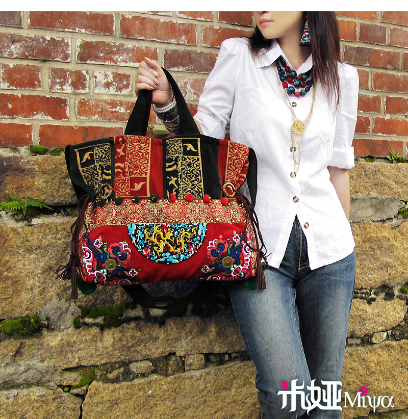 ФОТО Chinese Ethnic Style Embroidery Bags Handmade Cloth Flower Embroidered Canvas Beads Shoulder Bag Handbag Sac Femme Bordado Bolsa