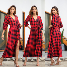 BREE 2019 New Plaid V Neck Long Maxi Dresses Vintage Women Patchwork Elegant Party Dress