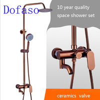 Dofaso luxury rose gold bathroom shower set and black rain shower faucets good gift for new home