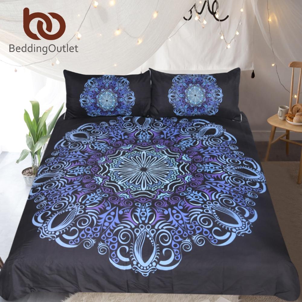 BeddingOutlet Mandala Ensemble de Literie Bleu et Pourpre Housse de Couette Avec Taies D'oreiller Literie de Fleurs Bohème 3-Pièce Couvre-lits