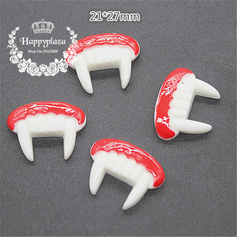10pcs Resin Flatback Cabochon Halloween Fangs Miniature Art Supply Decoration Charm Craft,21*27mm