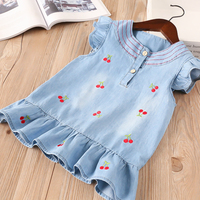 Hurave 2018 New Baby Girl Clothes Summer Fly Sleeve Ruffles Dress Kids Clothes Casual Embroidery Cherry