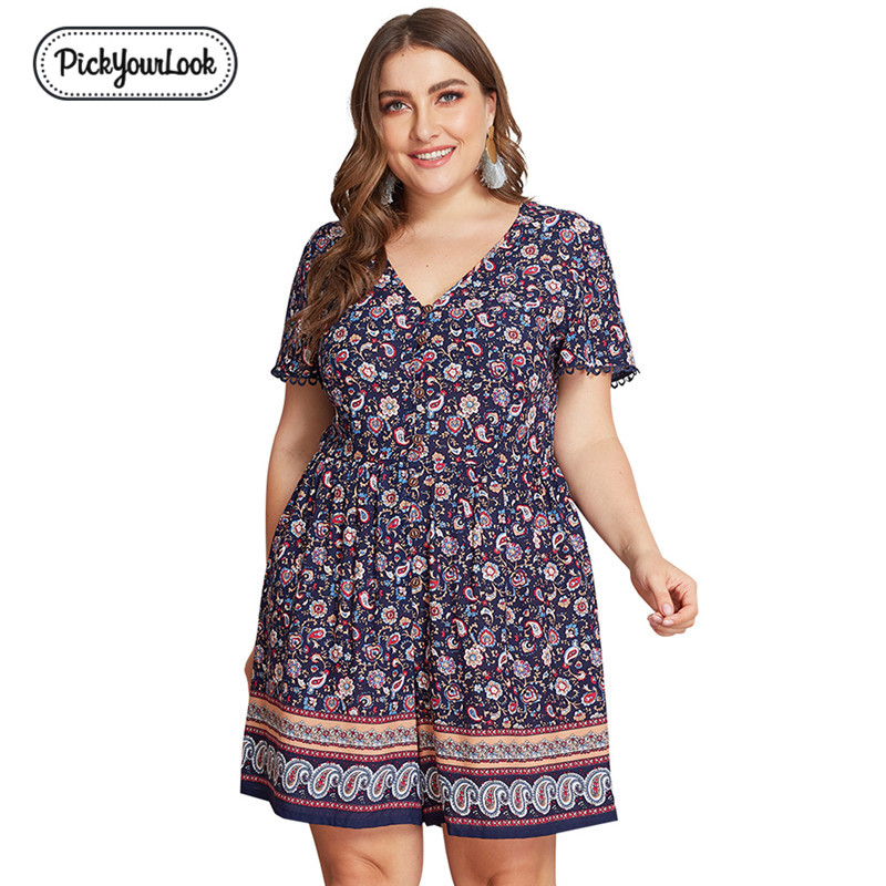 Pickyourlook Plus Size Jumpsuit Romper Playsuit Women Summer Short Sleeve Bohemian Floral Printed Ladies Shorts Jumpsuit Female