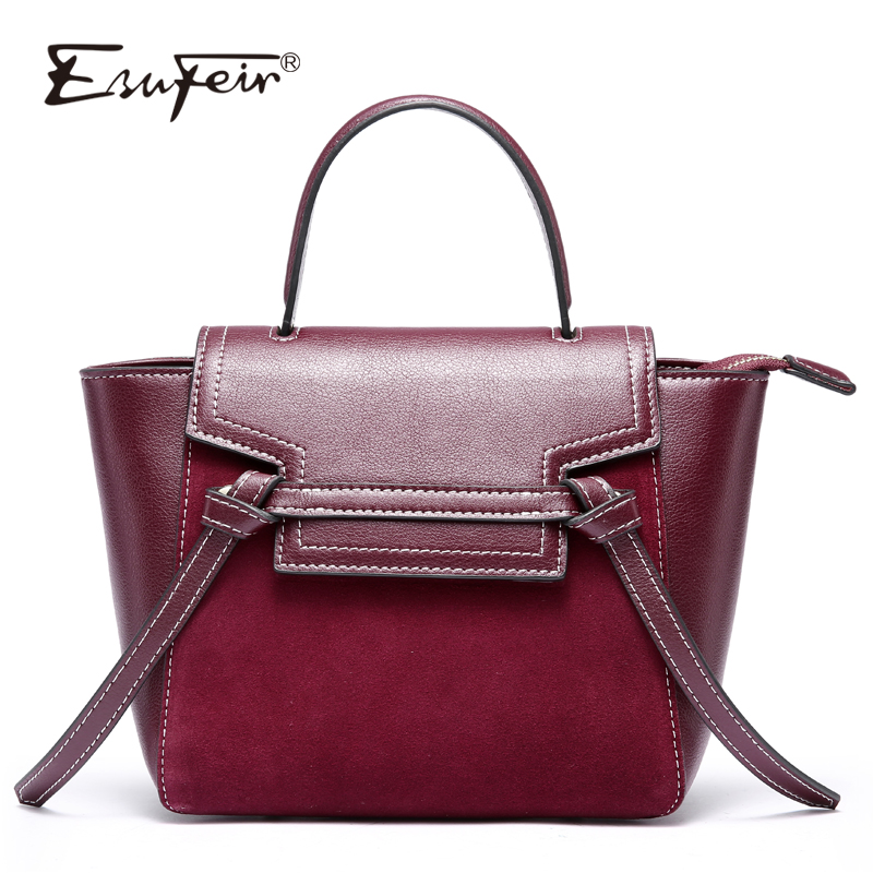 2018 ESUFEIR Genuine Leather Women Handbag Scrub Leather Tassel Trapeze Tote bags Famous Brand Female Shoulder Bag Messenger Bag new esufeir genuine leather stone pattern women handbag famous brand design messenger bag fashion tassel tote bags crossbody bag