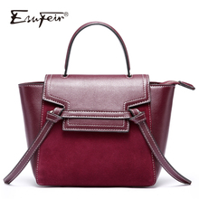 2018 ESUFEIR Genuine Leather Women Handbag Scrub Leather Tassel Trapeze Tote bags Famous Brand Female Shoulder Bag Messenger Bag