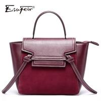 2018 ESUFEIR Genuine Leather Women Handbag Scrub Leather Tassel Trapeze Tote Bags Famous Brand Female Shoulder