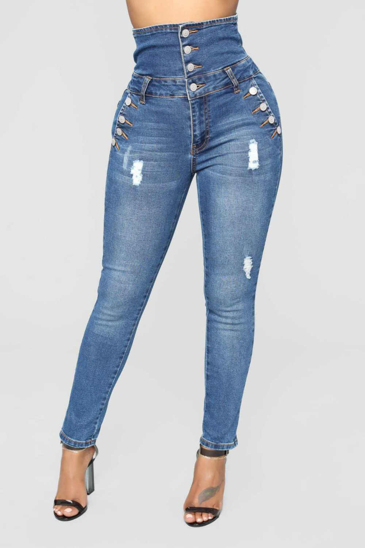 37471bed0b36 Fashion Women's High Waist Stretch Skinny Denim Long Pencil Pants Plus Size  Super Comfy Buttons Jeans
