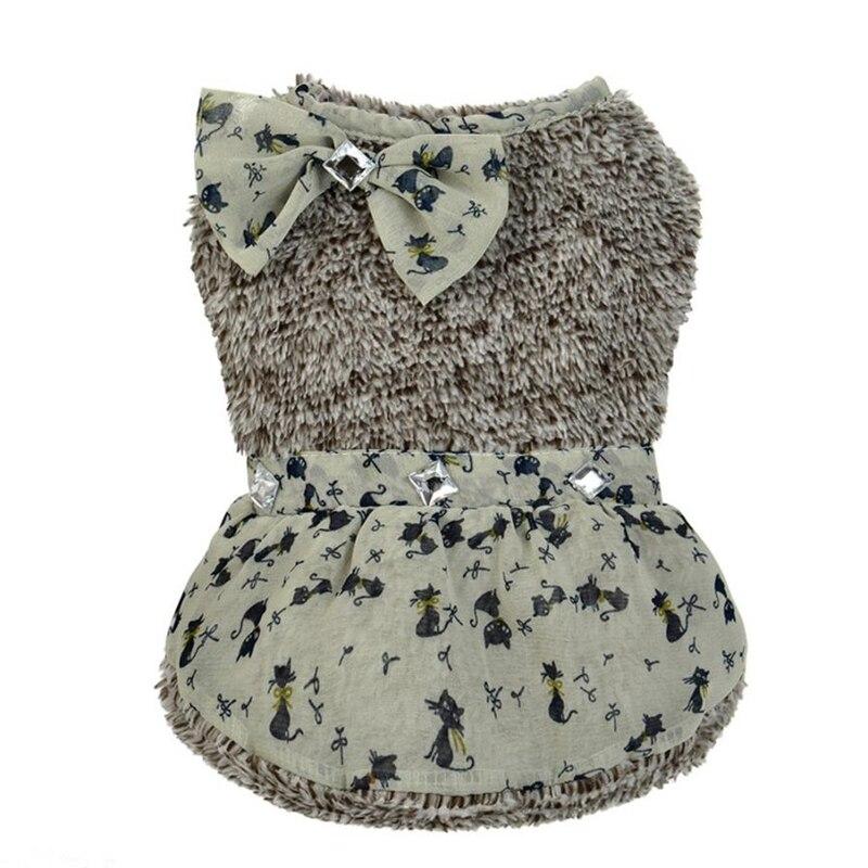 Dog Clothes Floral Pattern Pet Puppy Dot Bowknot Dress Charm Princess Zircon Skirt Apparel 2017 Hot Sale Roupa De Cachorro #7323