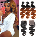 T1B/30 Omber Indian Virgin Hair Body Wave 3 Bundles With Lace Closure 10A Free/Middle/Three Part Closure With Body Wave Bundles