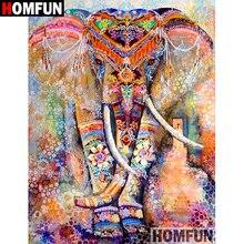 """HOMFUN 5D Сделай Сам алмазная живопись полная квадратная/круглая дрель """"цветной слон"""" вышивка крестиком подарок домашний Декор подарок A07915"""