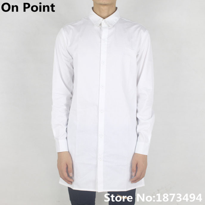 Summer mens designer clothes white extra long sleeve shirts oversized extended dress t shirt men ...