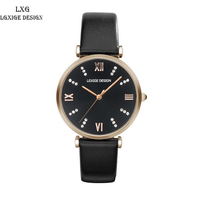 LGXIGE 2018 Moda Verão Das Mulheres de Relógios de Luxo Da Marca Pulseira de Couro relógios de Pulso de Quartzo Relógio de Senhoras Vestido de Ar Rosefield montre