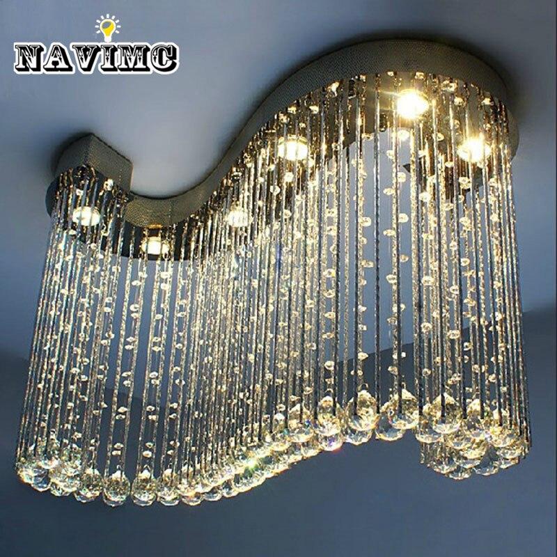 lustre Modern Chandelier 6pcs GU10 Light K9 Crystal Ball S Shape Rain Drop Luminaire Decoration Luster Pendant Lamp Chandeliers цена