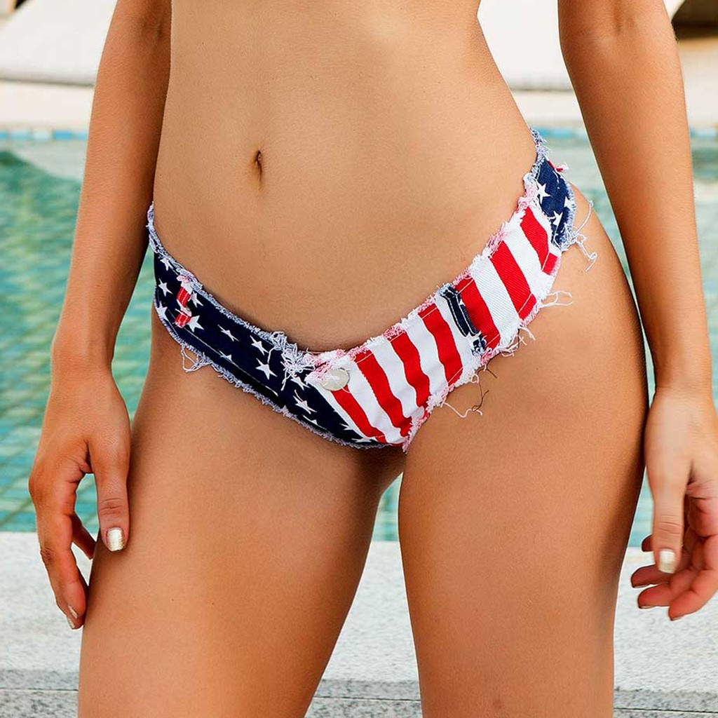 Sexy super Mini   Short   Jeans Women Denim Jeans Low Waist party   Shorts   American flag print Summer night clubwear Triangle jeans