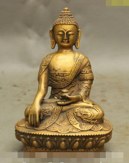 """S5433 6"""" Dragon Robe Tibet Buddhist Bronze Shakyamuni Mahavairocana Buddha Bowl Statue"""