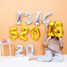 40inch 1pc Silver Aluminium Foil Number Balloons Birthday Party inflatable Toy Wedding Decoration outdoor fun sports prop