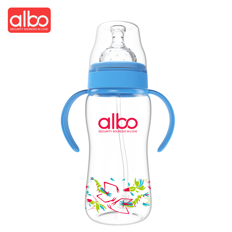 ALBO Hot Selling 300ML Large Size Baby Feeding Bottle Wide Mouth Arc Type Cute Design Variable Flow Baby Milk Bottle BPA Free ...