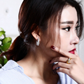 High Quality Fashion 24MM Hoop Earring Women Elegant Platinum Plated w/ AAA Cubic Zirconia Party Dresses Earring Body Jewerly